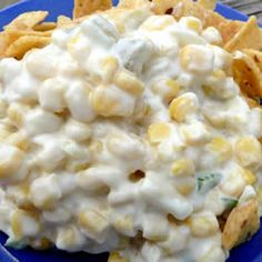 Corn Dip - 2 Can's Mexi-Corn (drained), 1 cup Hellman's Mayo, 2 Cups Shredded Colby Jack Cheese, Jalapenos (drained & diced - As many or as little as you like), dash of garlic salt.  Refrigerate & serve w/ Frito Scoops  =)