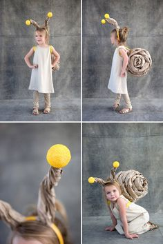 So adorable!  Snail Costume out of Brown Kraft Paper