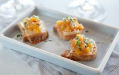Mini Tropical Cheese Toasts // Sweet pineapple and mango, plus aromatic spices make these delicious! #spring #recipe