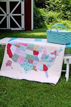 DIY US Map Lap Quilt