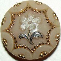 Antique Button Victorian Custard Glass Floral design