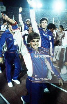 1984 Olympics Closing Ceremony | 1984 Olympic Games. Los Angeles, USA. American gymnast Mary Lou Retton ...