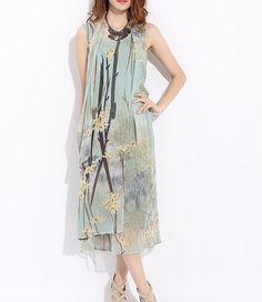 Floral Pattern Sleeveless Silk Dress-zeniche.com SKU aa0183