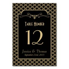 Shop Vintage Art Deco Gatsby Wedding Collection Table Number created by Invitation_Republic. Roaring 20s Wedding, Gatsby Wedding, Art Deco Wedding, Wedding Ideas, Card Table Wedding, Wedding Table Centerpieces, Wedding Table Numbers, Romantic Wedding Photos, Romantic Weddings