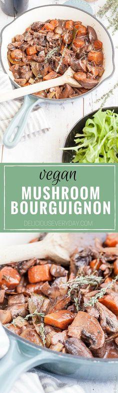 The classic beef bourguignon gets a vegetarian makeover with this delicious mushroom bourguignon recipe!  via @deliciouseveryday