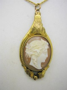 Victorian Rolled Gold Etruscan Revival Carved Shell Cameo Pendant Chain | eBay