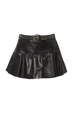 RED VALENTINO MINI BELTED LEATHER SKORT.  redvalentino  cloth   Skort dc28e7e567a0