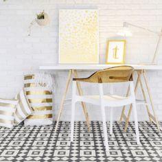Portuguese Tile Effect Cushioned Vinyl Flooring Sheet Sintra 73 Retro Vinyl Flooring, Tile Effect Vinyl Flooring, Cushioned Vinyl Flooring, Vinyl Sheet Flooring, Vinyl Tiles, Tile Design, Wood Design, Smooth Concrete, Sol Pvc