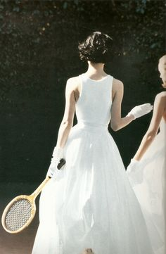 Shalom Harlow by Peter Lindbergh | white dress | Tennis
