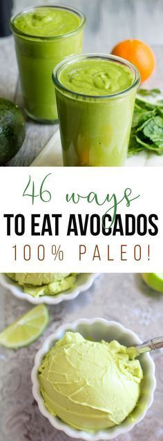 Find 46 Ways to Eat Avocados; savory and sweet alike, one for every occasion! All recipes are Paleo, gluten free, dairy free, grain free and healthy!