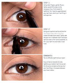 """Tight-lining your eyes (also known as the """"invisible eye liner"""") is a great way to add a subtle definition to your eyes. Instead of lining the skin above your lashes, you line between the lash line..."""