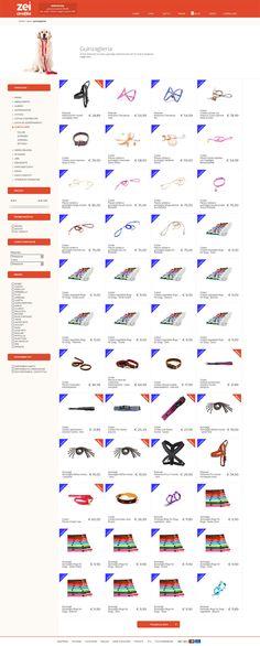 Il catalogo dell'e-commerce, visualizzato su un dispositivo di medie dimensioni. Grazie al web design liquido, i prodotti si dispongono e si adattano al dispositivo utilizzato.