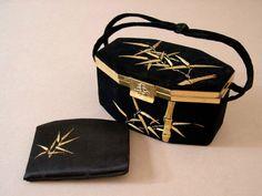 Vintage black velvet handbag, 1940's, formal, evening, gold metallic embroidery, brass toned fittings, matching silk wallet, gorgeous. by CostumeConsortium on Etsy https://www.etsy.com/listing/217370861/vintage-black-velvet-handbag-1940s