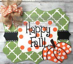 Fall Door Hanger: Quatrefoil Pumpkin Welcome Sign by SparkledWhimsy on Etsy https://www.etsy.com/listing/203578505/fall-door-hanger-quatrefoil-pumpkin
