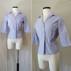 Vintage 1950s Lavender Blouse // 50s light purple blouse // fitted nipped in waist button up blouse // spring summer blouse