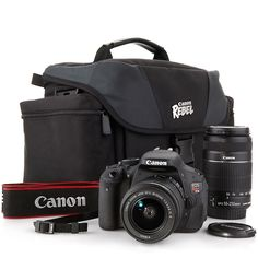 EOS Rebel T3i 18MP DSLR Full HD Camera Kit with Case and Lenses at HSN.com