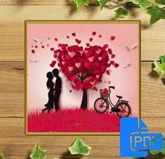 Valentine' Day Cross Stitch Pattern Valentine' Day