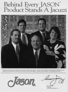 Behind Every Jason Product Stands a Jacuzzi. From left: Remo V. Jacuzzi, Matthew Jacuzzi, Remo Jacuzzi, Paulo Jacuzzi, and Jennifer Jacuzzi Peregrin-1996  #jasoninternational #jacuzzifamilyhistory