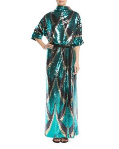 MARC JACOBS DRAPE-BACK BELTED SEQUIN EVENING GOWN. #marcjacobs #cloth #