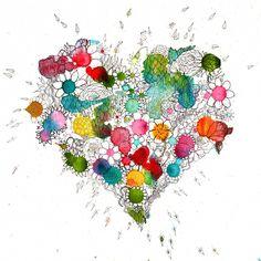 Personalised blooming heart print