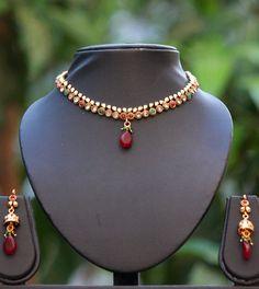Delicate Polki Necklace Set – India1001.com