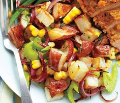 Sheryl Crow's Roasted-Potato Salad With Sweet Corn and Cider Vinegar -   Swapping fatty mayo for olive oil and cider vinegar lightens up this summer picnic favorite.