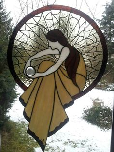 Stained glass lady dream catcher