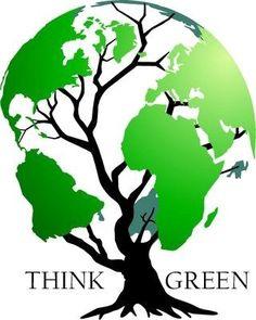 think green - world map tree logo