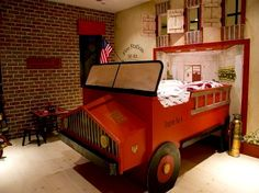 fire truck bed for boys - my son would never want to get up in the morning...