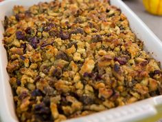 Cranberry-Walnut Stuffing recipe from Valerie Bertinelli via Food Network -- Another stuffing idea. I'd use real cornbread, not a mix though. Sausage And Herb Stuffing Recipe, Sage Sausage, Stuffing Recipes, Stuffing Mix, Best Thanksgiving Recipes, Thanksgiving Menu, Holiday Recipes, Christmas Recipes, Thanksgiving Dressing