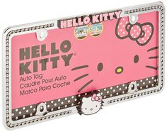Sanrio Hello Kitty Car Truck Rhinestone Bling Metal Chrome License Plate Frame