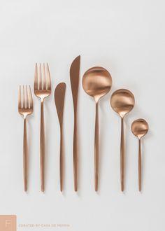 Modern yet timeless brushed rose gold flatware. Soft pink ...