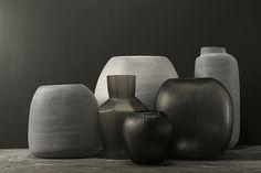 Papua Grey and Ono Grey glass vessel from Guaxs European Furniture, Contemporary Furniture, Furniture Vintage, Black Vase, Big Design, Grey Glass, Interior Design Services, Vases Decor, Interior Styling