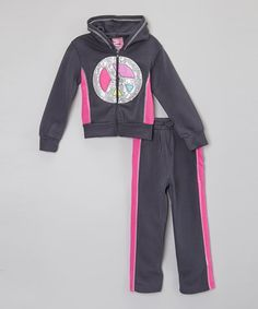 Love this Charcoal & Pink Peace Hoodie Set - Toddler & Girls on #zulily! #zulilyfinds