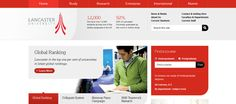 Lancaster University web design, red and white and clean