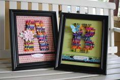 Teacher Monogram Gift using crayons, scrapbook paper and #Spellbinders die templates.