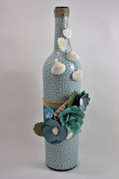 Wine Bottle Home Decor w/Hand-crafted Paper by FlowerDesignsbyRuth Handmade Home Decor, Handmade Gifts, Paper Crafts, Diy Crafts, Diy Bottle, Bottles And Jars, Paper Flowers, Decoupage, Crafty