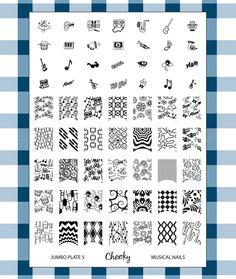 "Cheeky 2013 Stamping Plate Jumbo Image Plate 5 ""Musical Nails"" music full nail art small"