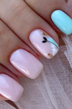 The Best Wedding Nails 2019 Trends ❤ wedding nails 2019 light pink blue design with flower flower_nails 2020 trends Simple Wedding Nails, Wedding Nails Design, Wedding Nail Colors, Cute Nails, Pretty Nails, Gel Nails, Nail Polish, Shellac Manicure, Pink Nails