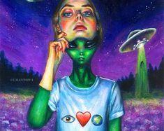 22 Ideas Landscape Art Painting Canvases For 2019 Arte Dope, Dope Art, Alien Painting, Gouache Painting, Arte Inspo, Alien Girl, Stoner Art, Trippy Wallpaper, Unique Paintings