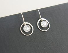 Crystal and round link earrings in sterling by jersey608jewelry, $27.00