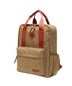 5aef0c3b8cc6 Satchel Backpack College Student Book Bag Crinkle Nylon T801 - brown -  CL128OG7KAZ