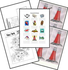 Resources (Printables) for The Little Red Lighthouse and Great Gray Bridge Preschool Books, Book Activities, Homeschooling Resources, Curriculum, School Themes, School Ideas, Little Red Lighthouse, Lighthouse Books, Five In A Row