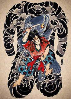 Source by carolinannis . Japanese Watercolor, Japanese Painting, Japon Illustration, Tattoo Illustration, Bonsai Tattoo, Japanese Snake Tattoo, Dragon Tattoo Art, Back Piece Tattoo, Samurai Artwork
