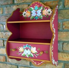 Beautifully decorated set of shelves painted with Bauernmalerai designs Painted Wooden Boxes, Hand Painted Furniture, Furniture Decor, Furniture Design, Decoupage Vintage, Tole Painting, Painting On Wood, Hippie Home Decor, Wood Art