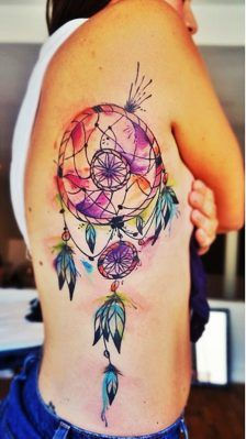 25 Colorful Dream Catcher Tattoo That Will be Uniquely Your Own