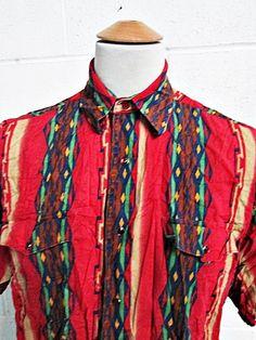 Vintage 1980s 80s Geometric Red Indie Cowboy Western Shirt XL