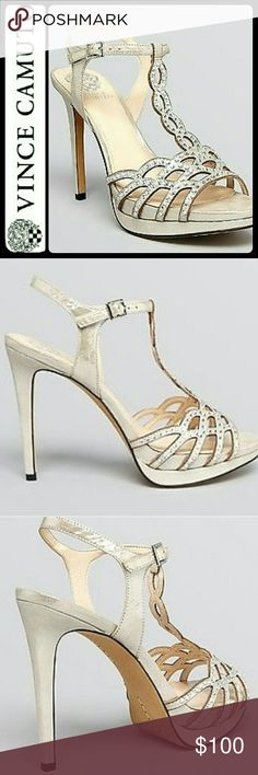 Vince Camuto Leather Sandal Heels Vince Camuto Signature Shoes in Gorgeous Leather Upper Suede Strappy Sandal Heels! Shine On with This Stunning Pair - Either with an Evening Dress, or A Micro Mini, or Yet in Your Skinny Jeans!   Open Toe Style! Buckled Ankle Strap with Metallic Faux Jewel Embellished Finish on Vamp! About 5 Inches Heels and 1.25 Inches Platform! Used Once with Wear on Left Heel as Shown on Pictures, Size 9 1/2M Vince Camuto Shoes Heels