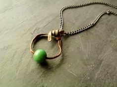Copper Ribbon Pendant Necklace Green Glass by JennieVargasJewelry,