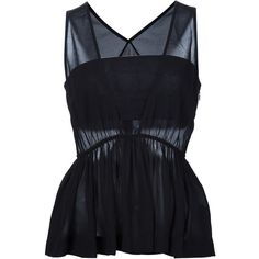 Chloé Ruffle Sleeveless Blouse (58.685 RUB) ❤ liked on Polyvore featuring tops, blouses, shirts, black, deep v neck shirt, ruffle blouse, pleated blouse, sheer blouse and ruffled shirts blouses
